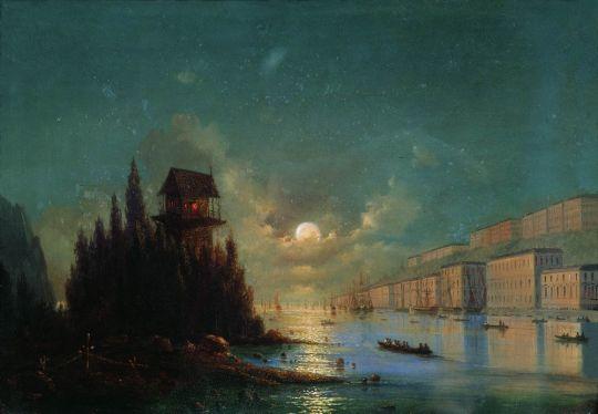 Вид приморского города