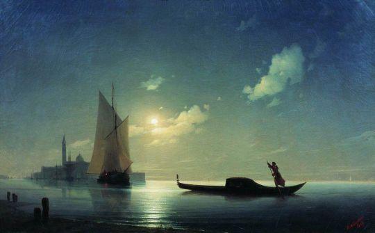 Гондольер на море ночью