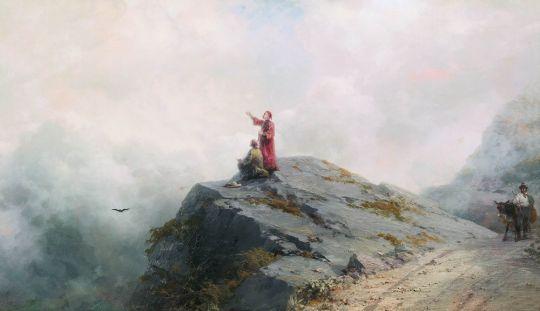 Данте указывает художнику на необыкновенные облака