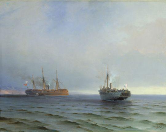 Захват пароходом Россия турецкого военного транспорта Мессина на Чёрном море 13 декабря 1877 года