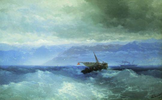 Кавказские горы с моря