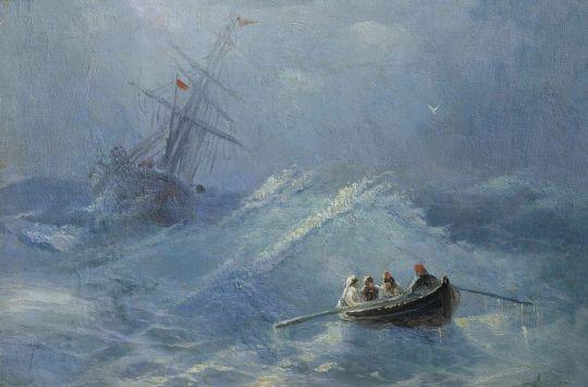 Крушение корабля в бушующем море