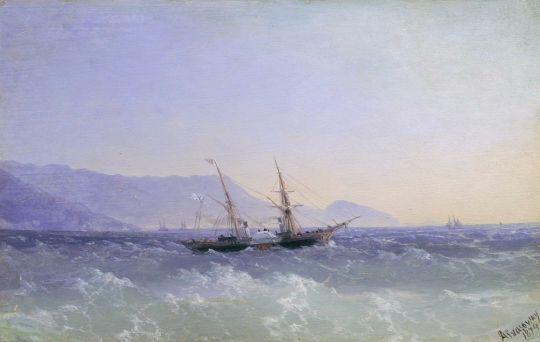 Крымский пейзаж с парусником
