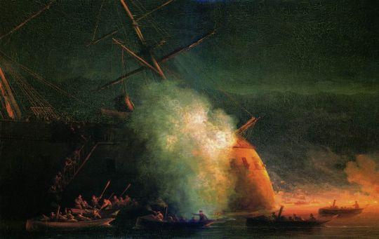 Минная атака катерами парохода Великий князь Константин турецкого броненосца Ассари-Шевкет на Сухумском рейде 12 августа 1877 года