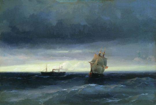 Море с кораблем