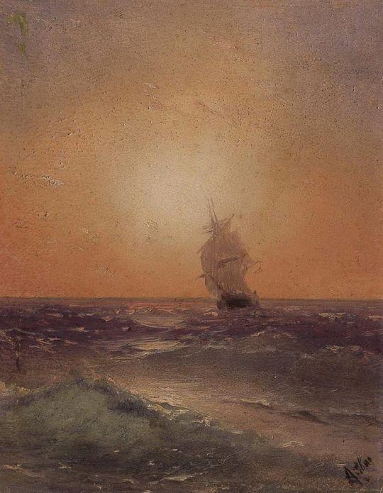 Морской вид с часовней на берегу
