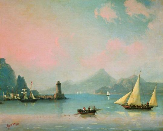 Морской пролив с маяком