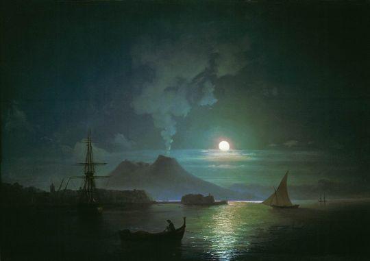 Неаполь в лунную ночь. Везувий