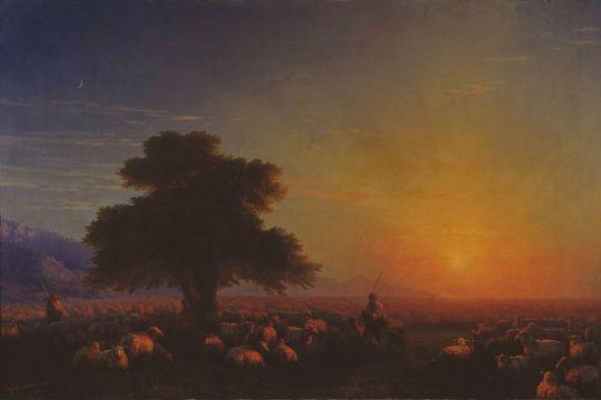 Овцы, загоняемые бурею в море