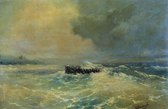 Перед Алупкой в Крыму (Лодка в море)