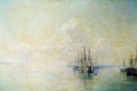Эскадра Черноморского флота перед выходом на Севастопольский рейд