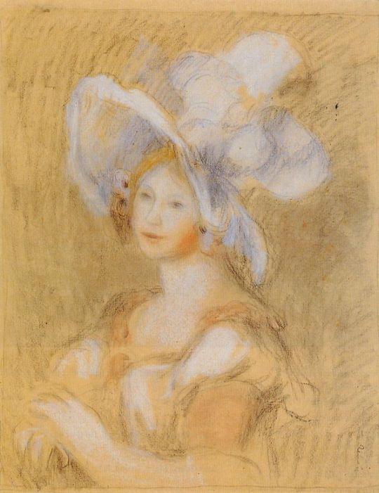 Амели Диетри  в белой шляпе