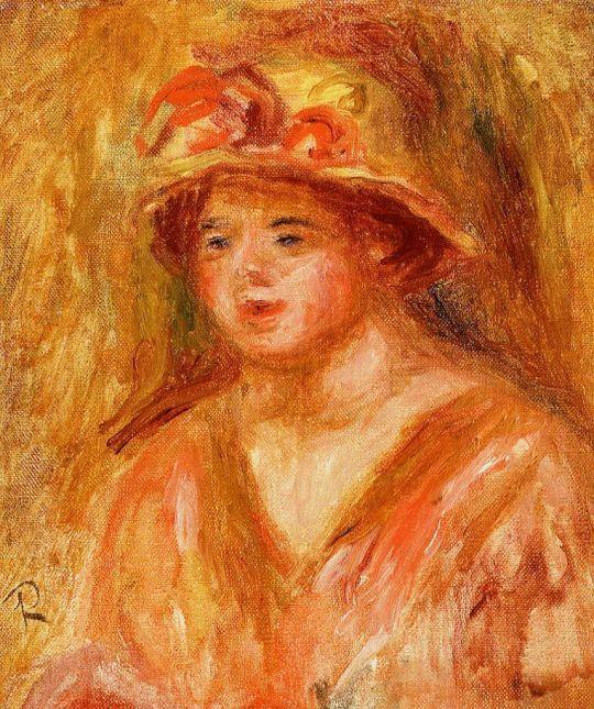 Бюст девочки в соломенной шляпе