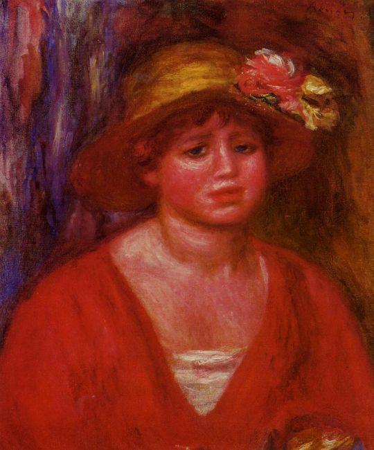Бюст девушки в красной рубашке