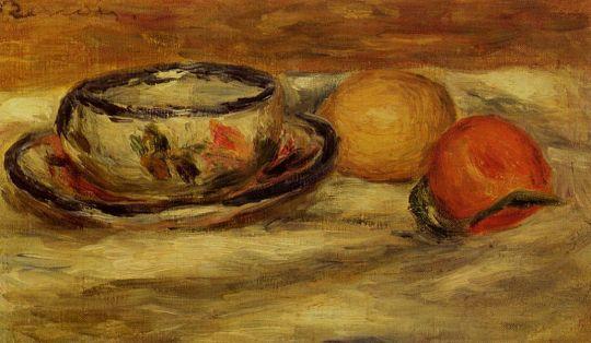 Чашка, лимон и томат
