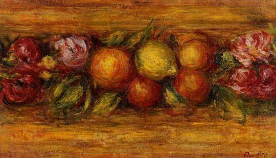 Венок из фруктов и цветов
