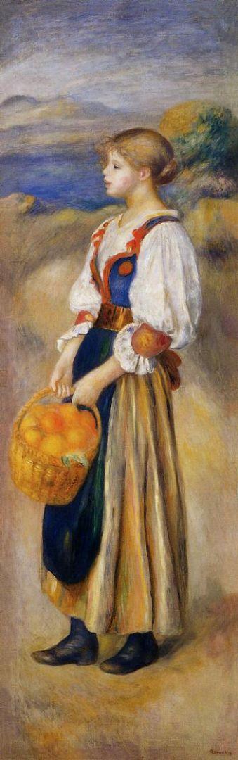 Девочка с корзиной апельсинов