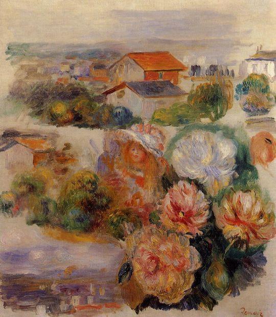 Пейзаж, цветы и маленькая девочка