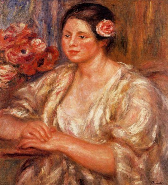 Мадлен в белой блузке и букет цветов