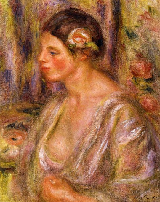 Мадлен с розой в волосах