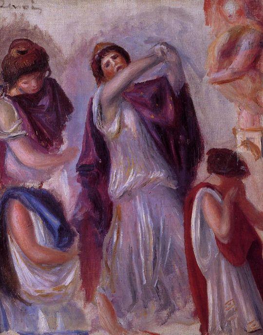 Античная сцена - женщины в пеплуме