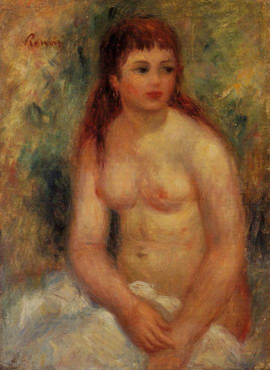 Сидящая обнажённая девушка