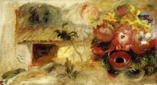 Небольшой дом, лютики и букет цветов (эксиз)