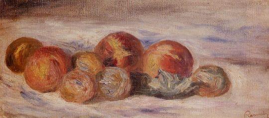 Натюрморт с персиками и каштанами
