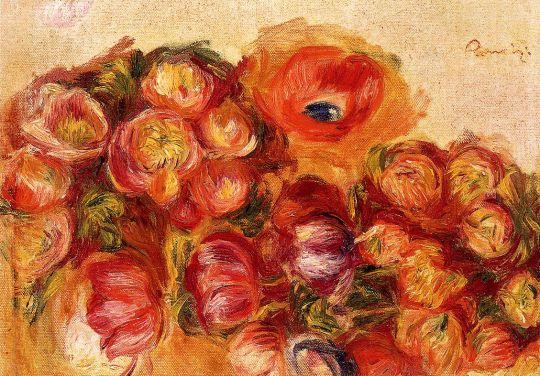 Эскиз цветов - анемонов и тюльпанов