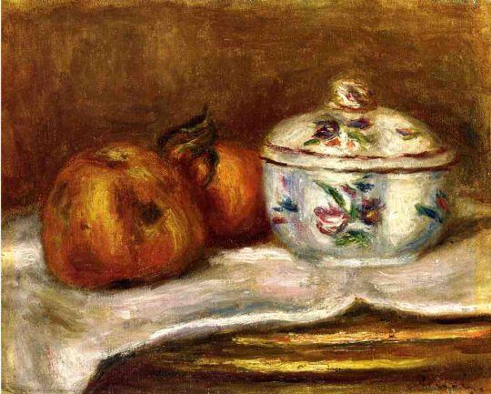 Сахарница, яблоко и апельсин