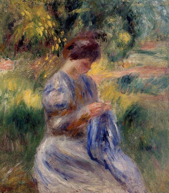 Вышивальщица (также известной как Женщина, вышивающая в саду)