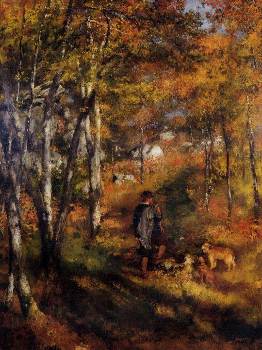 Художник Жюль ле Кёр, выгуливающий собаку в лесу Фонтенбло