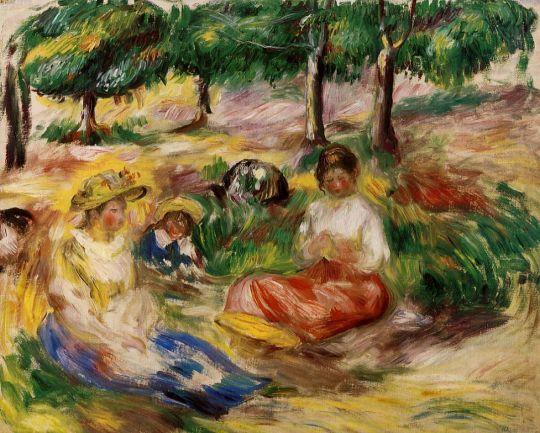 Три девушки, сидя в траве