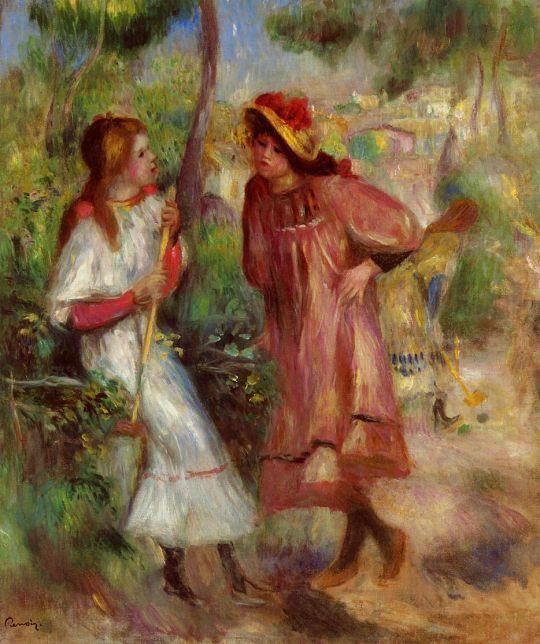 Две девушки в саду на Монмартре
