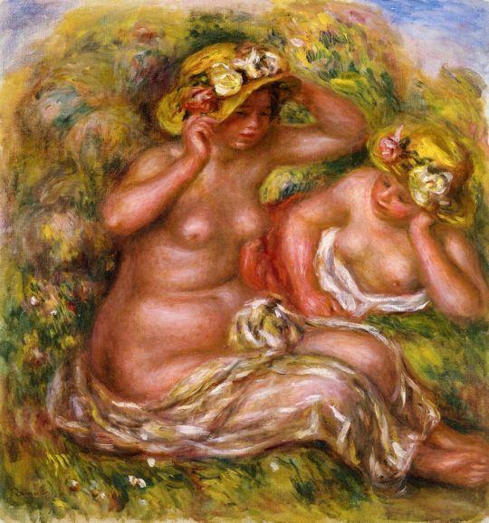 Две женщины в шляпках, украшенных цветами