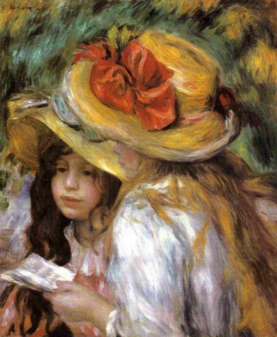 Две юные девочки за чтением
