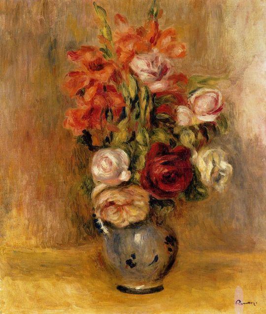 Ваза с гладиолусами и розами