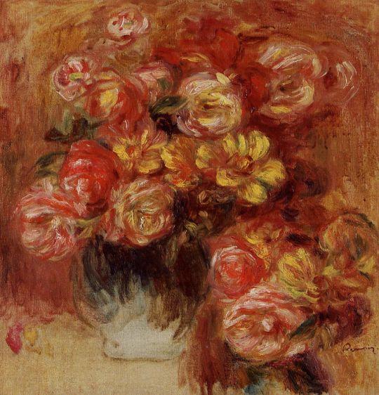 Ваза с розами и георгинами