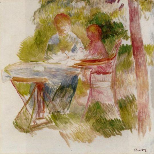 Женщина и ребенок в саду