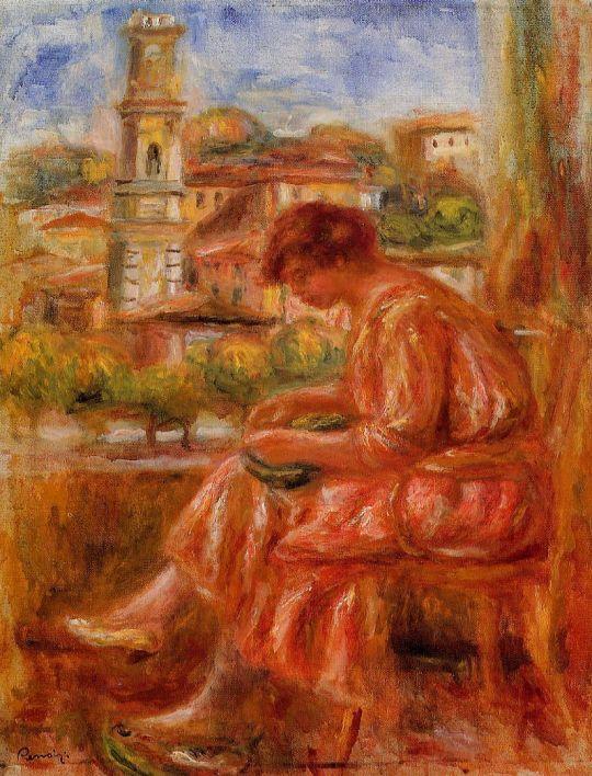 Женщина у окна с видом на Ниццу