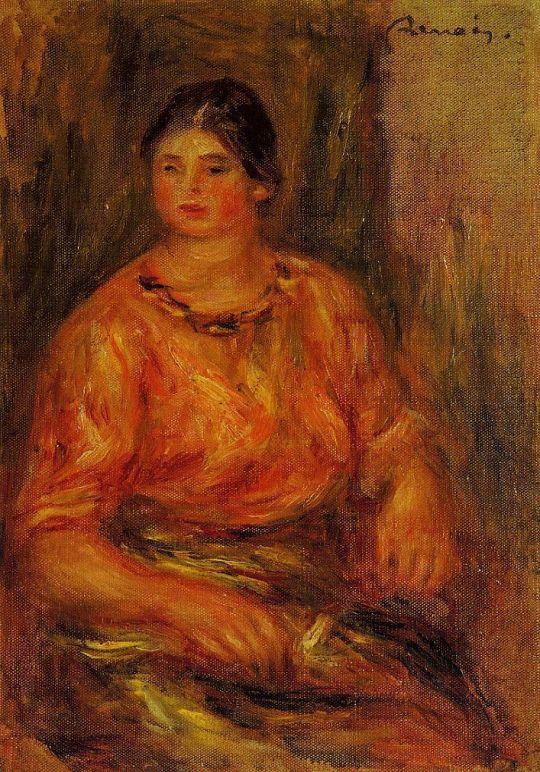 Женщина в красной блузке