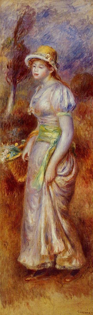 Женщина с корзиной цветов
