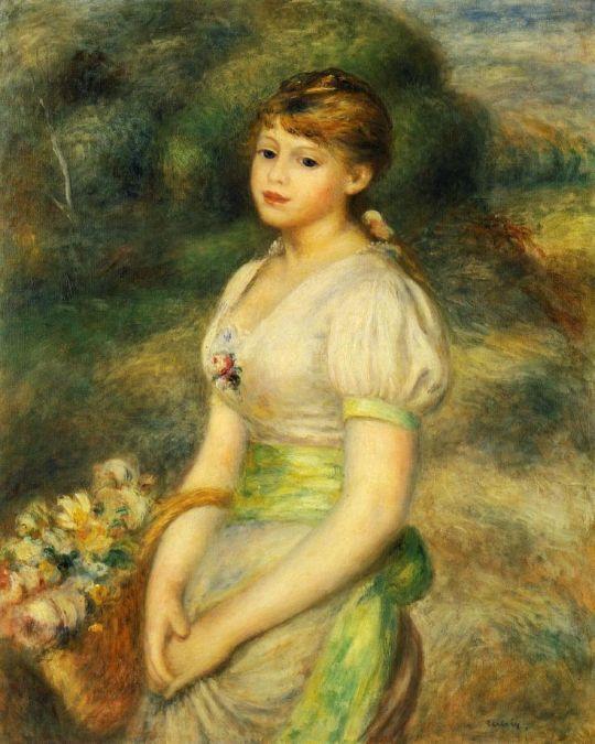 Девочка с корзиной цветов