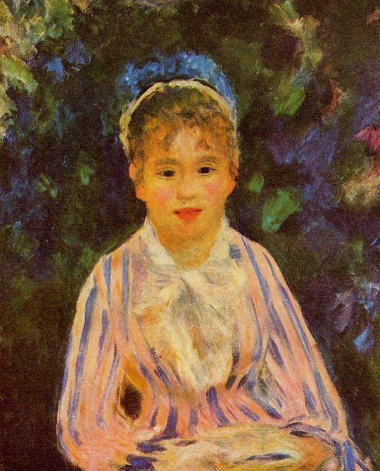 Девушка в розово-голубой полосатой рубашке