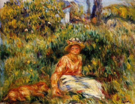 Девушка, сидящая в саду