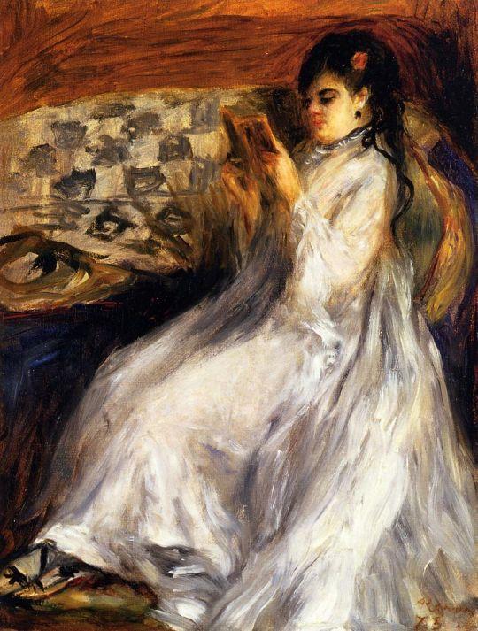 Читающая, девушка в белом