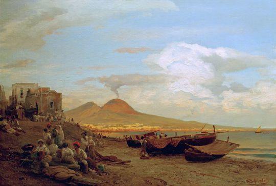 Побережье Неаполя с людьми на пляже