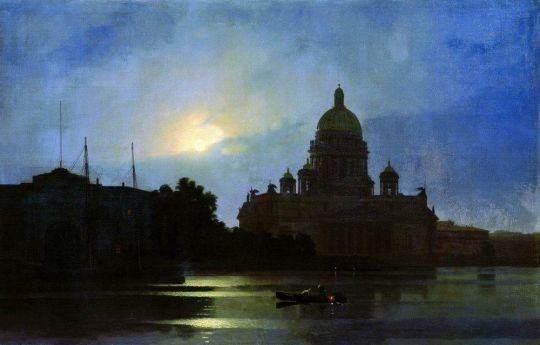 Вид Исаакиевского собора при лунном освещении.