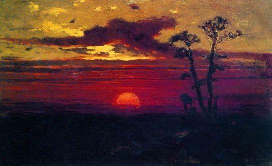 Закат солнца в лесу.