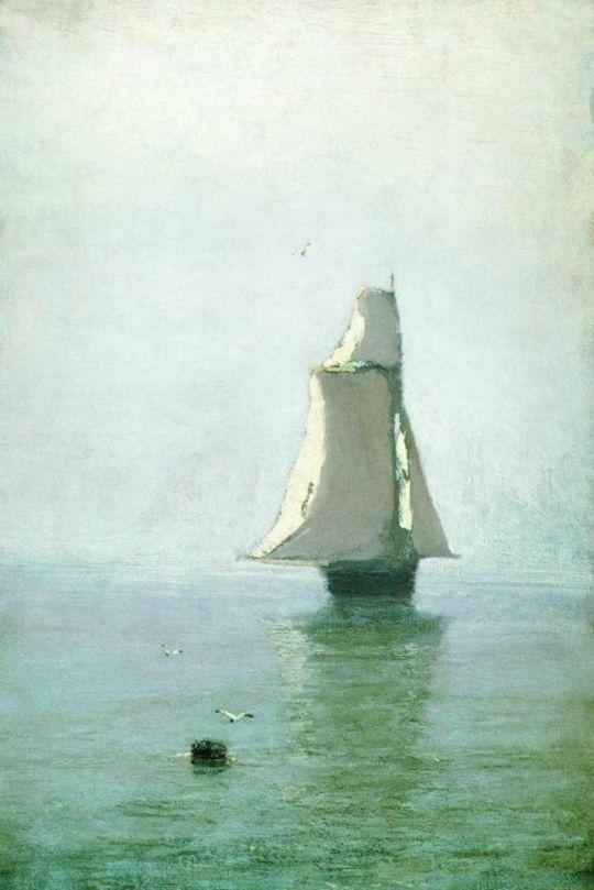 Море с парусным кораблем.
